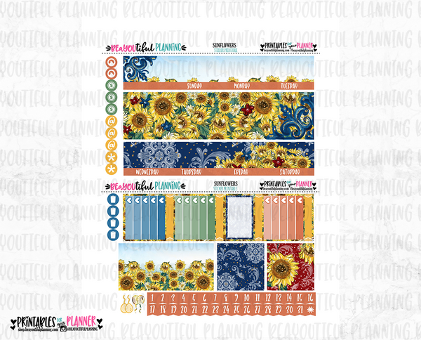 Sunflower Monthly Printable for Use with Happy Planner