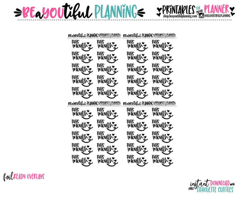This Month Hearts Script Foil Ready Printable