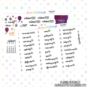 October 2020 Monthly Holiday Printable