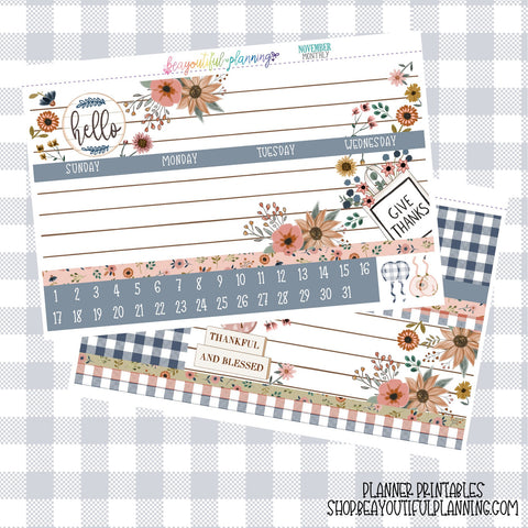 Thankful - Monthly Printable *Choose Your Planner*