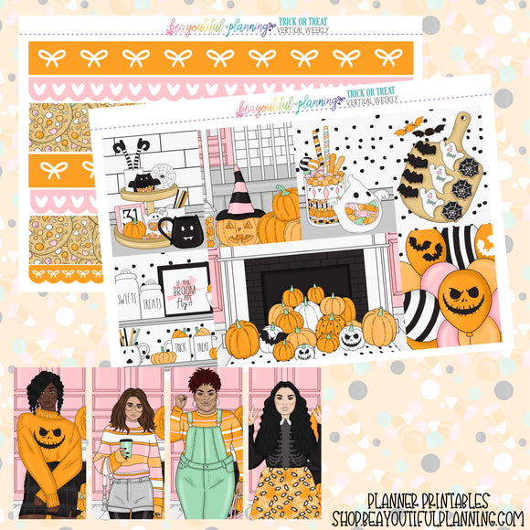 Trick or Treats - Weekly Planner Printable -Choose from - Vertical - Horizontal/PP Weeks/MiniHP - Hobo Weeks
