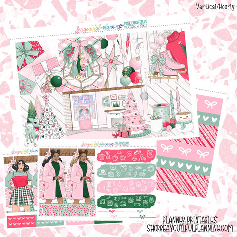 Pink Christmas - Weekly Planner Printable -Choose from - Vertical - Horizontal/PP Weeks/MiniHP - Hobo Weeks