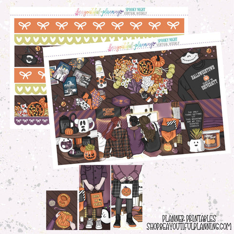 Spooky Movies - Weekly Planner Printable -Choose from - Vertical - Horizontal/PP Weeks/MiniHP - Hobo Weeks