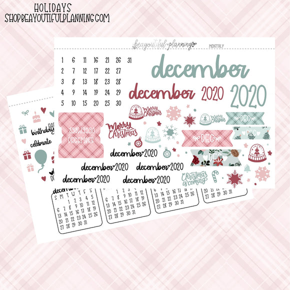 December 2020 Monthly Holiday Printable