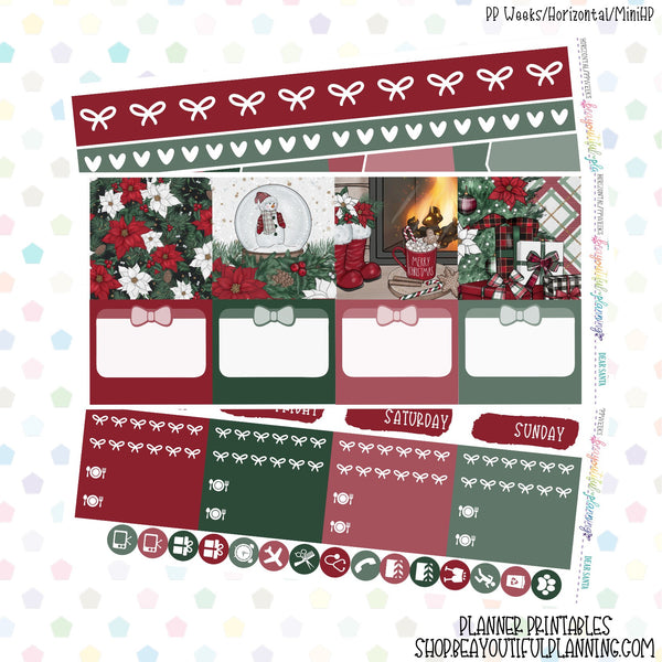 Dear Santa - Weekly Planner Printable -Choose from - Vertical - Horizontal/PP Weeks/MiniHP - Hobo Weeks