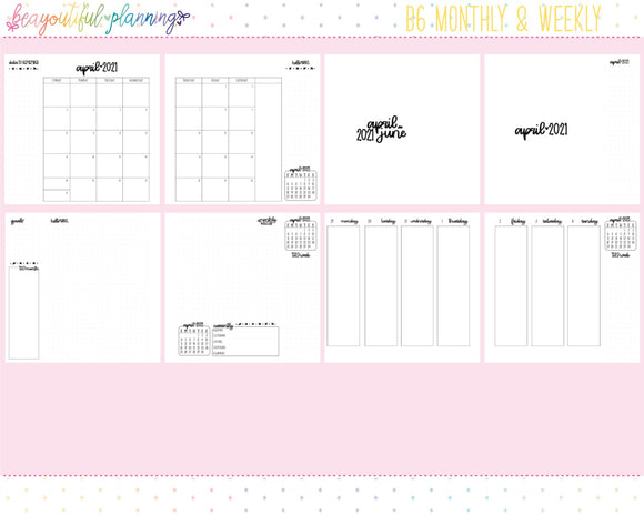 B6 2021 Vertical Monthly + Weekly Printable Inserts