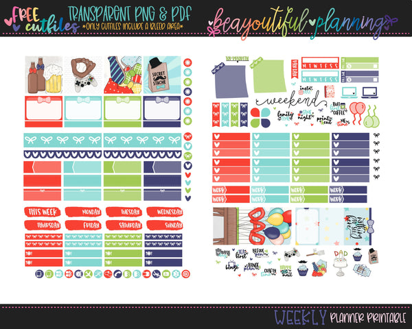 Dad - Weekly Planner Printable -Choose from - Vertical - PP Weeks - Horizontal
