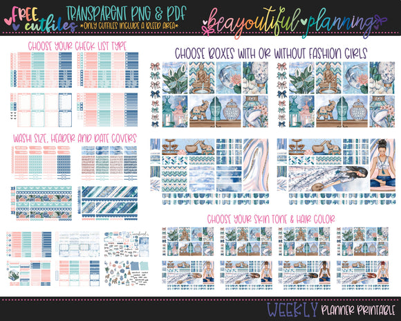 Tranquil - Weekly Planner Printable -Choose from - Vertical - PP Weeks - Horizontal