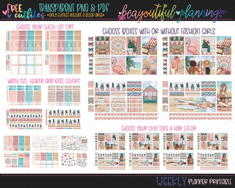 Sun and Sand - Weekly Planner Printable -Choose from - Vertical - PP Weeks - Horizontal