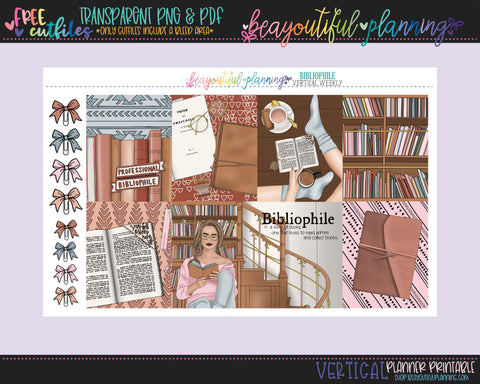Bibliophile - Weekly Planner Printable -Choose from - Vertical - Horizontal