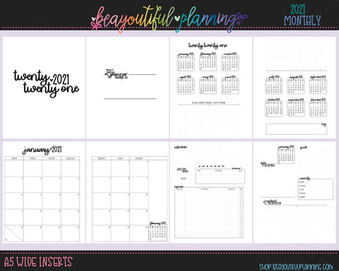 A5 Wide 2021 Monthly + Notes Pages Dated Printable Inserts