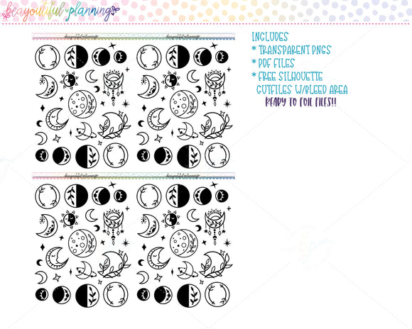Moons Deco Set 1 - Foil Ready Planner Printable
