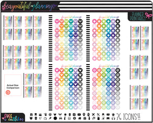 Rainbow 36 Icon Set Planner Functional Printable