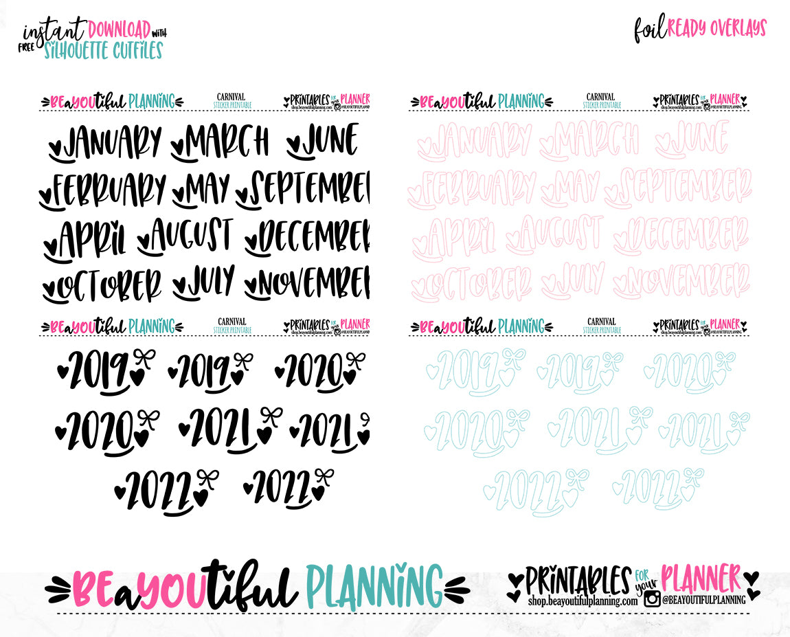Carnival Month Overlays Printable Planner