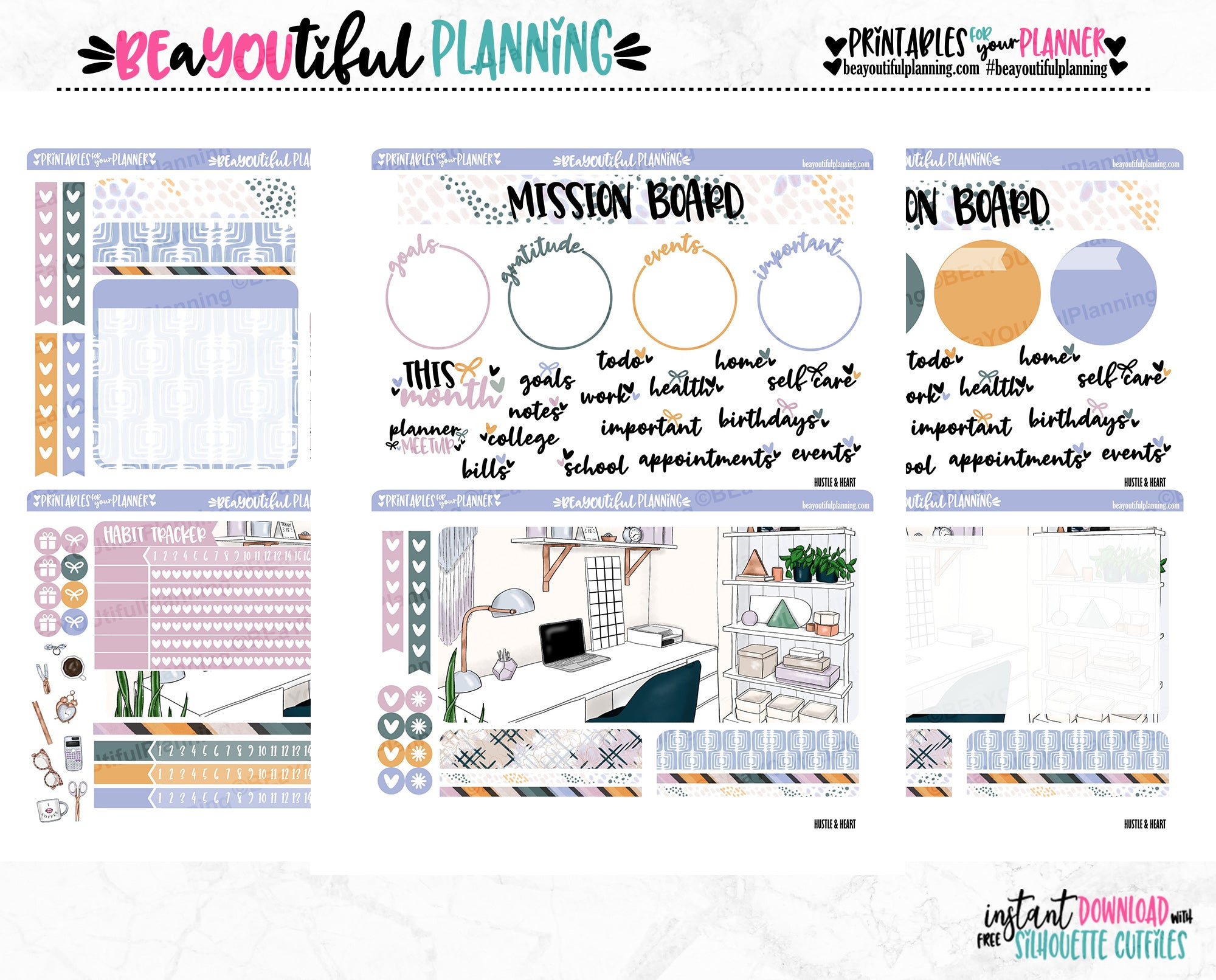 Hustle & Heart Notes Page Printable