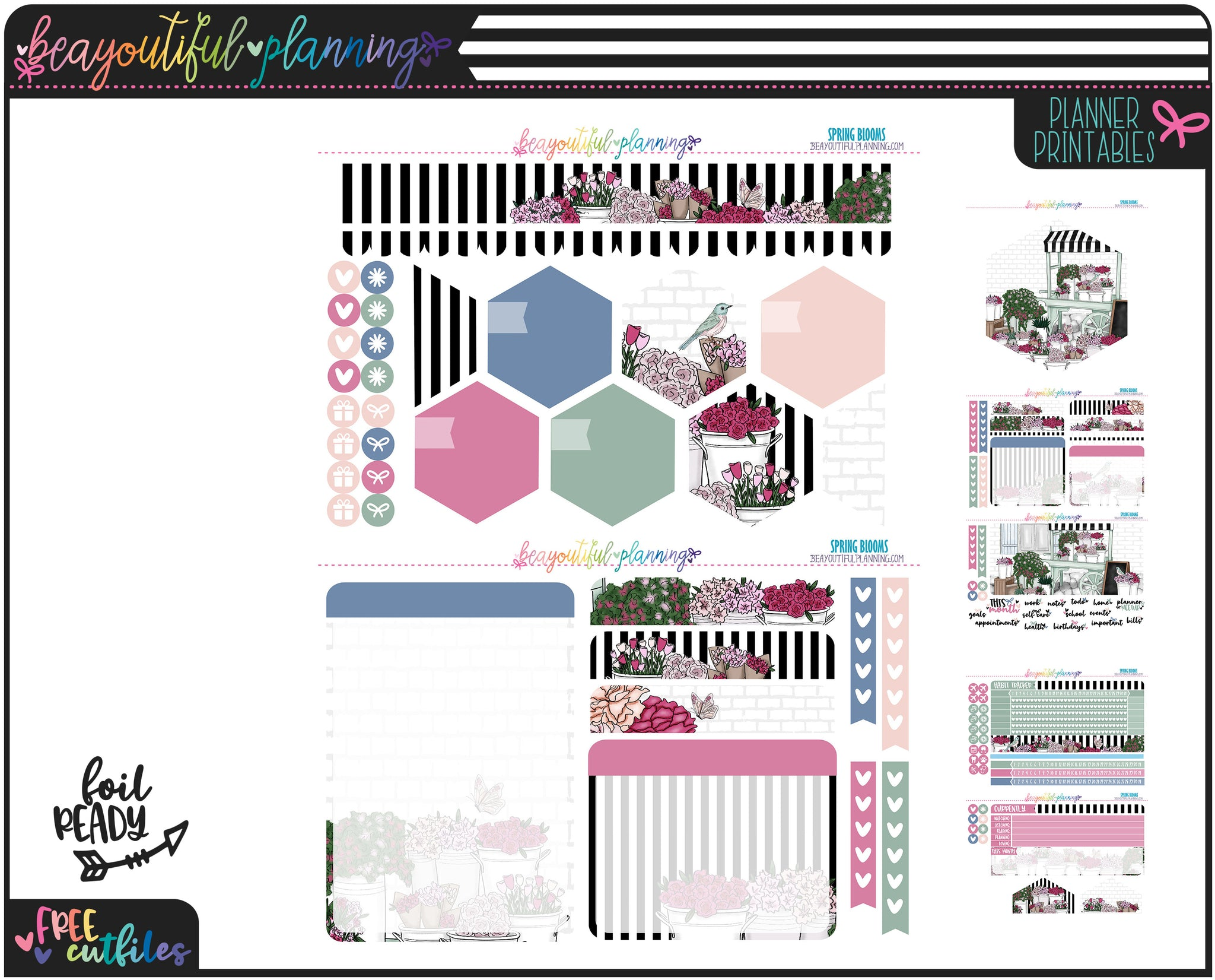Spring Blooms Notes Page Printable