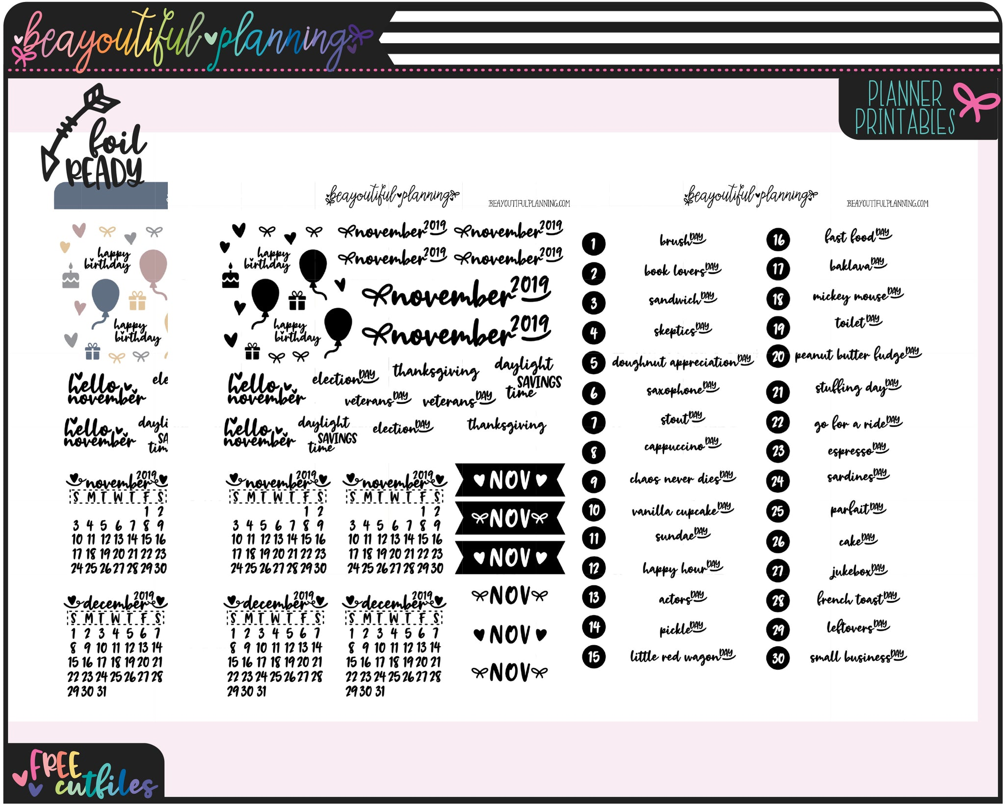 November 2019 Monthly Wacky Holiday Printable