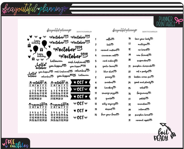 October 2019 Monthly Wacky Holiday Printable