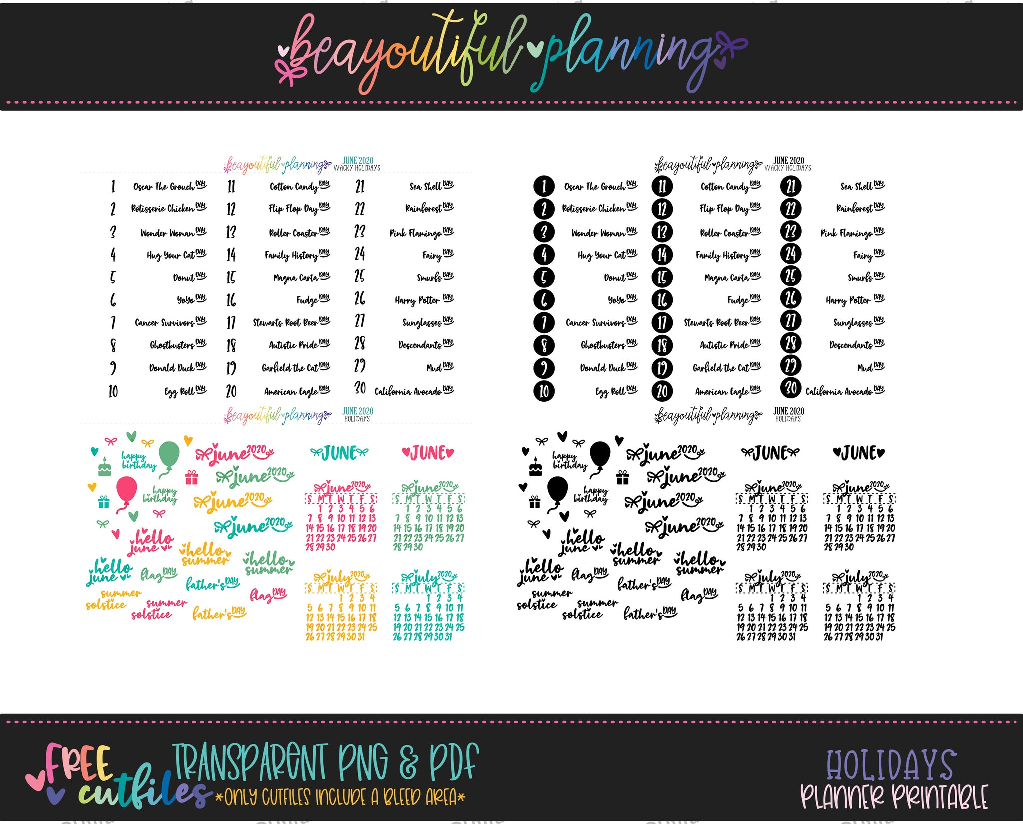 June 2020 Monthly Holiday Printable