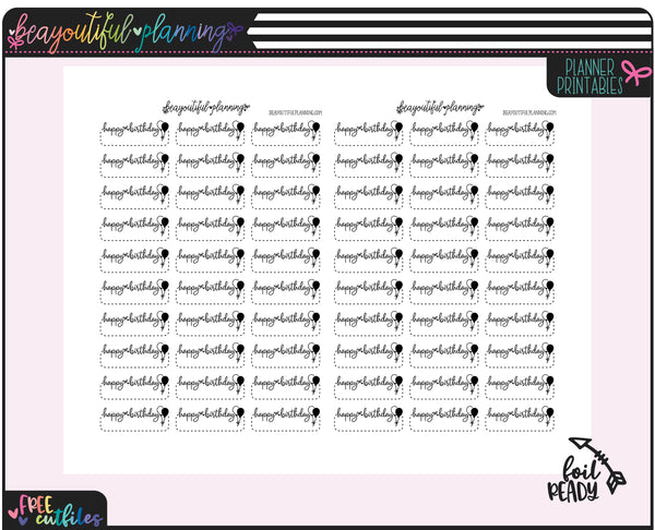 Birthday Rainbow & Foil Ready Labels Printable