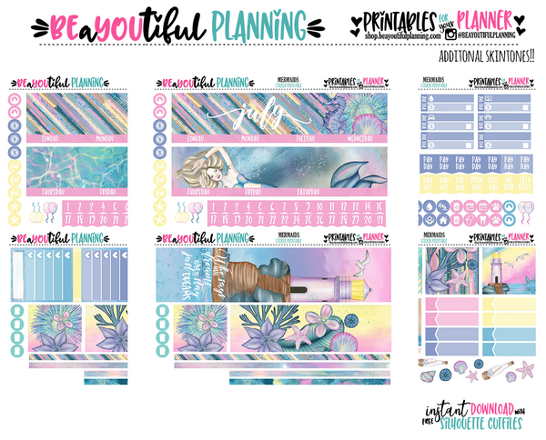 Mermaids Monthly Printable for Use with Recollections