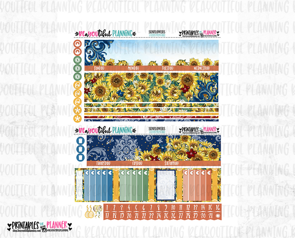 Sunflower Monthly Printable for Use with Recollections