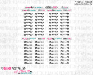 This Week Script Foil Ready Printable