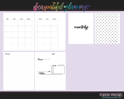 A5 Wide - UnDated Monthly Printable Inserts