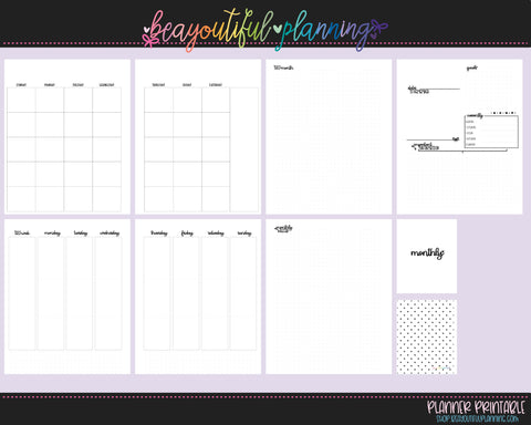 A5 Wide Vertical  - UnDated Monthly + Weekly Printable Inserts
