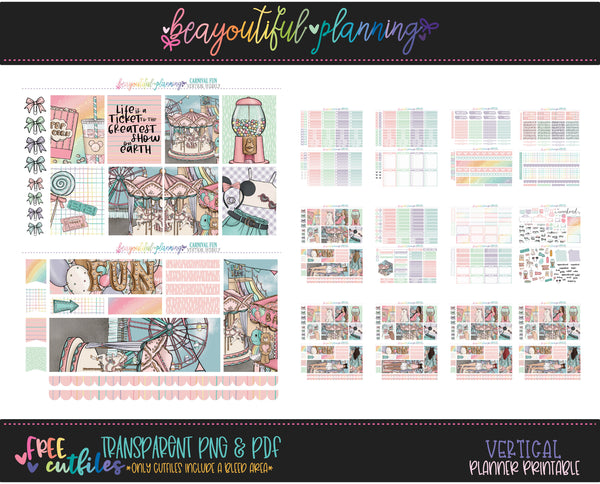 Carnival - Weekly Planner Printable -Choose from - Vertical - PP Weeks - Horizontal