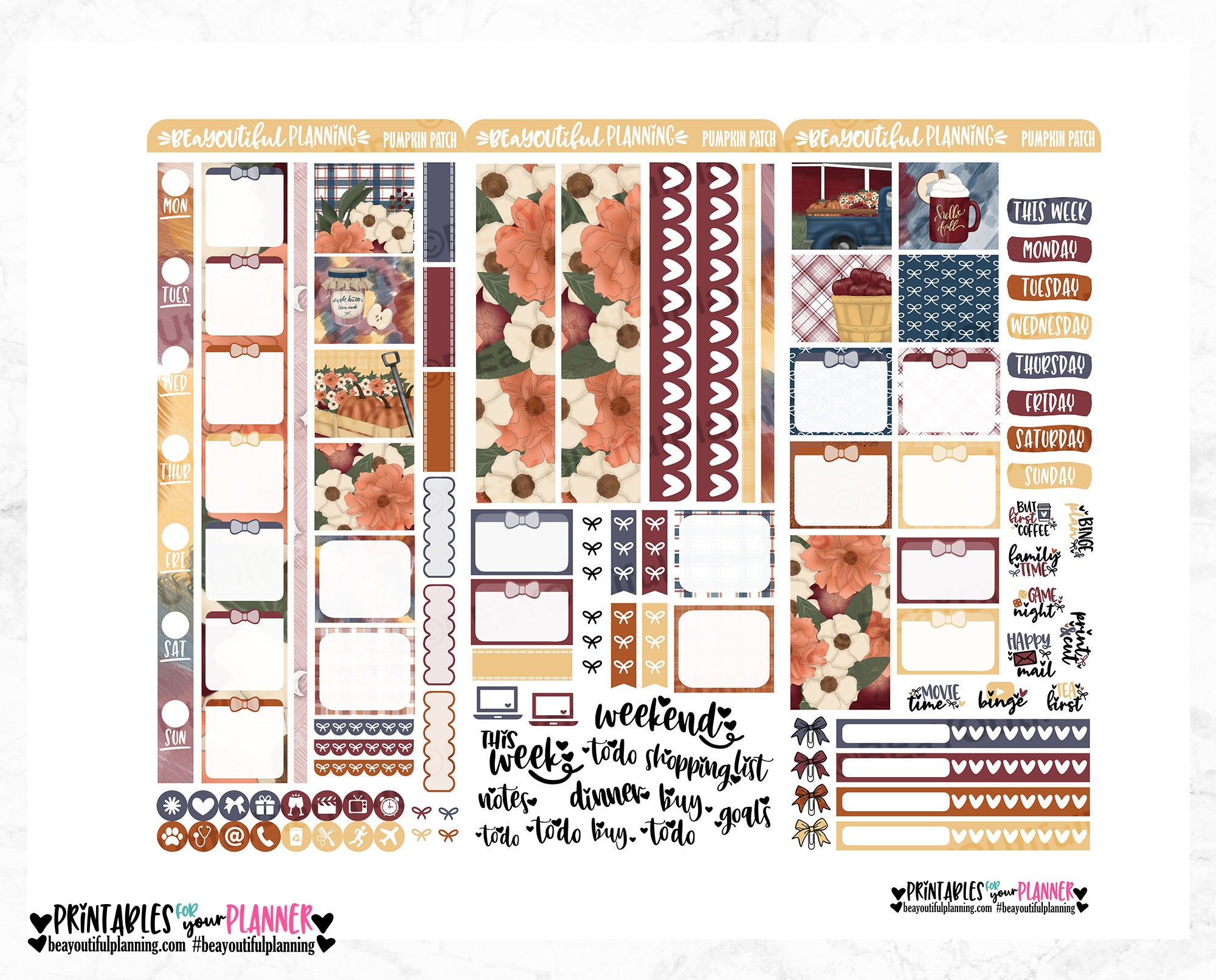 Pumpkin Patch Hobonichi Weeks Printable
