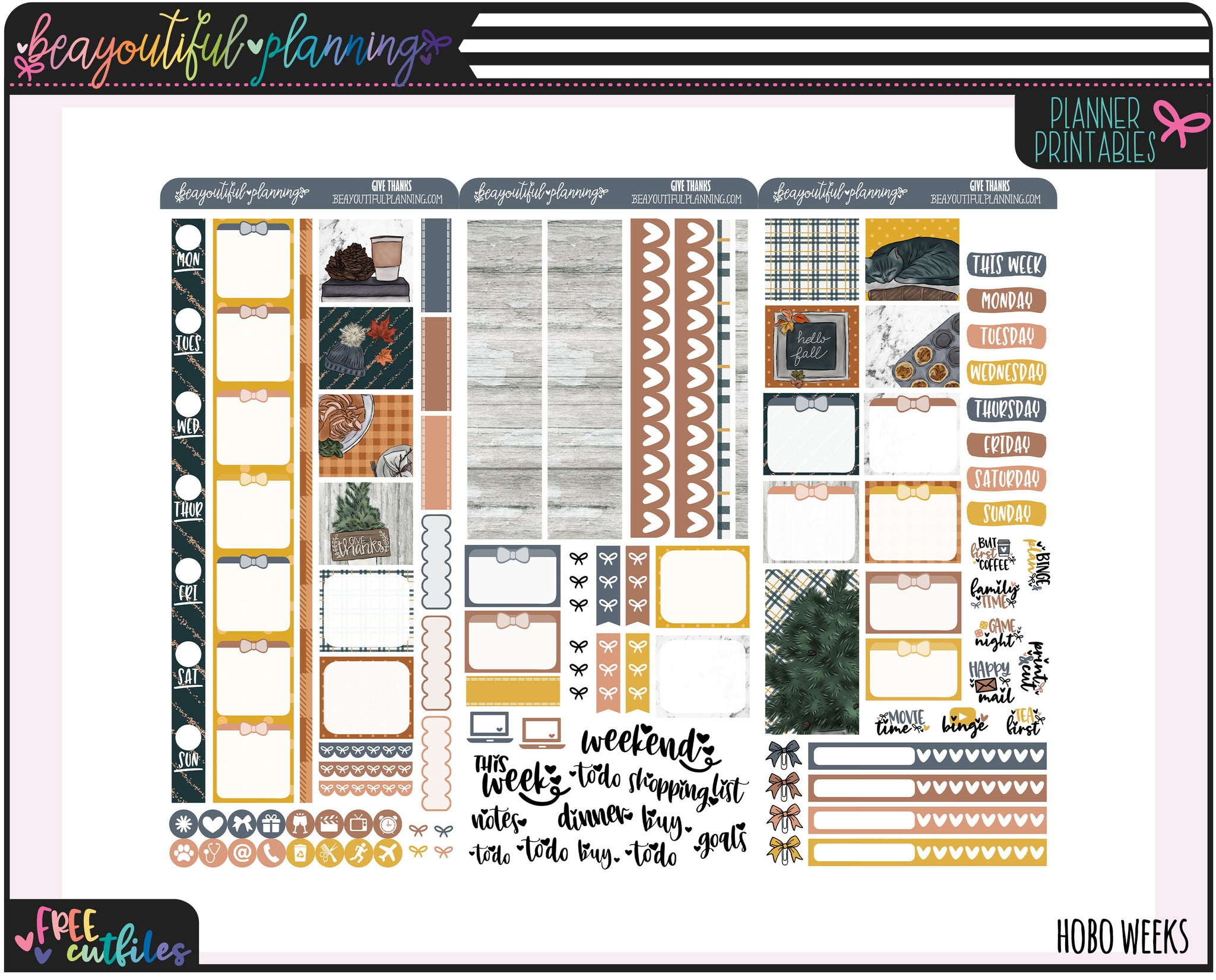 Give Thanks Hobo Weeks Printable