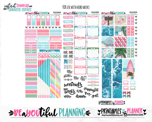 Beach Bound Hobonichi Weeks Printable