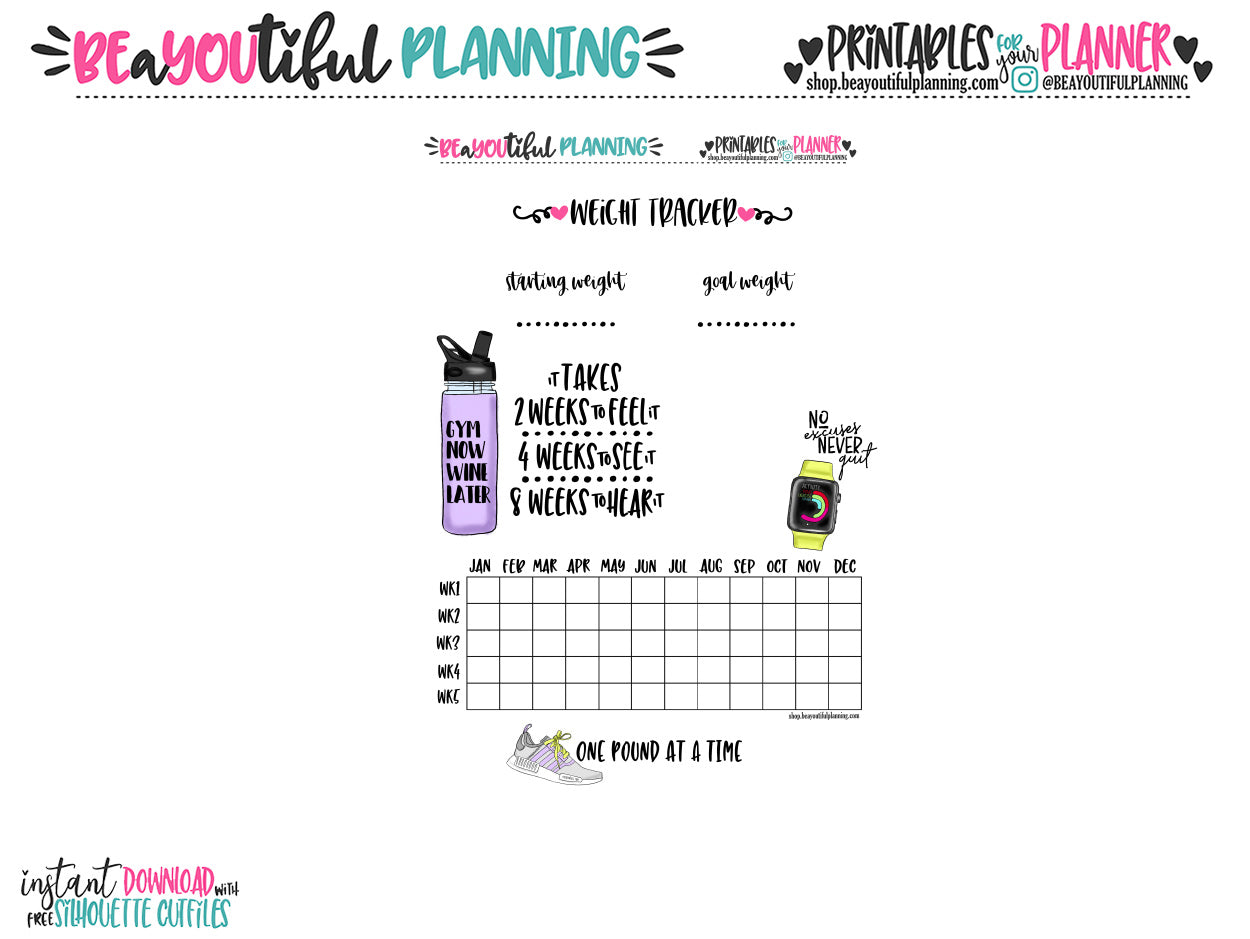 photo about Weight Tracker Printable identified as Fat Decline Tracker Printable