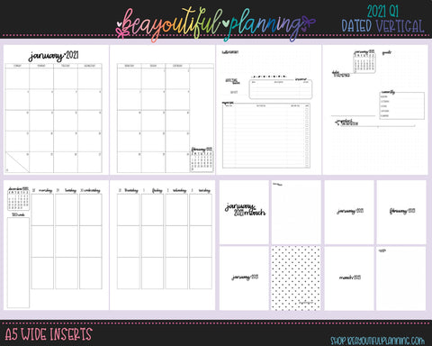A5 Wide 2021 Q1 Vertical W/Header Lines Printable Inserts