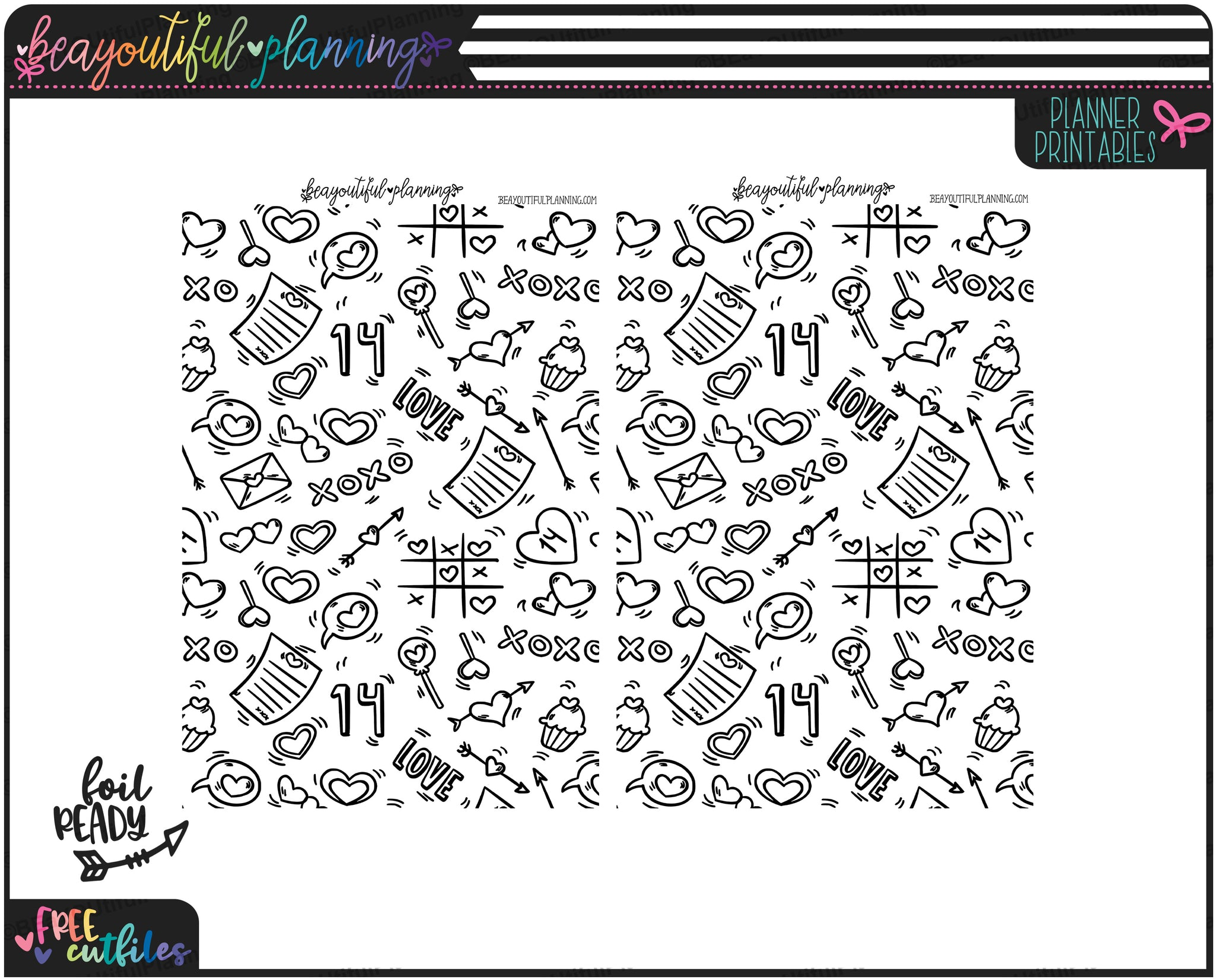 XOXO Underlays Foil Ready Overlay Printable