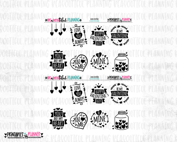 XOXO Full Box Overlays Foil Ready Printable