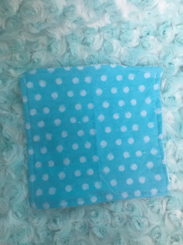 Blue polka dot wash cloth