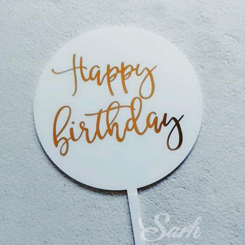 Engraved 'Happy Birthday' | Taarttopper