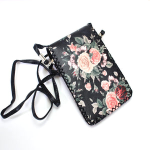 Floral printed vegan leather crossbody