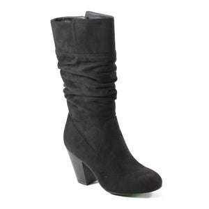 MALL BRAT by Diba London introduces a slouchy mid shaft vegan suede boot. A 3- inch faux stacked heel lifts this style to new heights complete with an inside zipper and rounded toe.