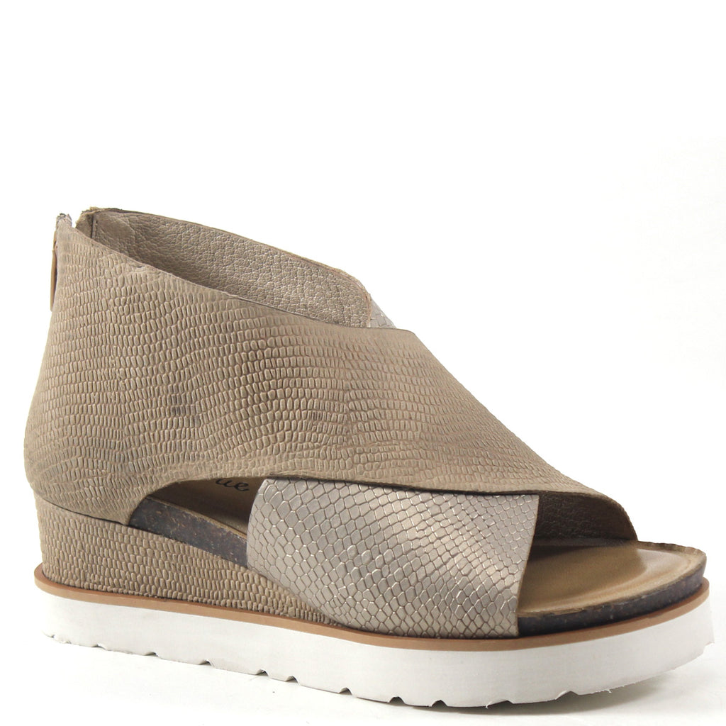 Diba True Gang Way Genuine Suede Low Wedge Sandal in Beige Gold Metallic