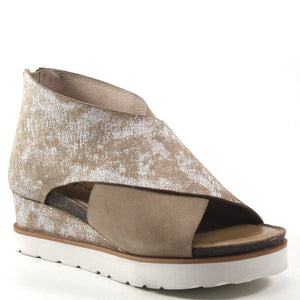 Diba True Gang Way Genuine Suede Low Wedge Sandal in Natural with Rustic White Accents