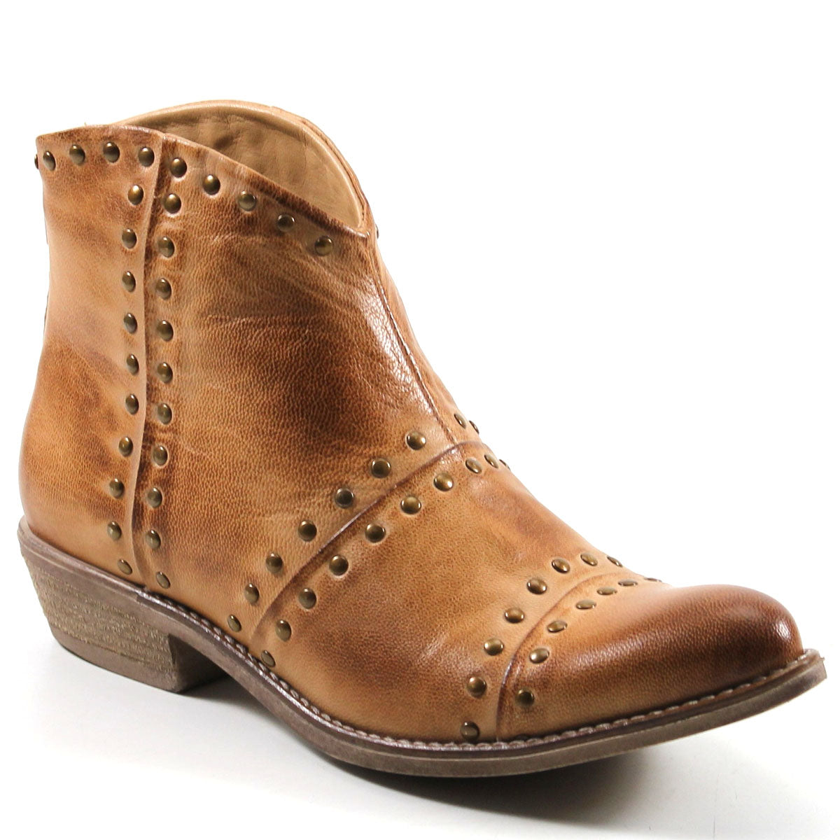 Diba True Good Sign Studded Western Genuine Leather Tan Ankle Boot
