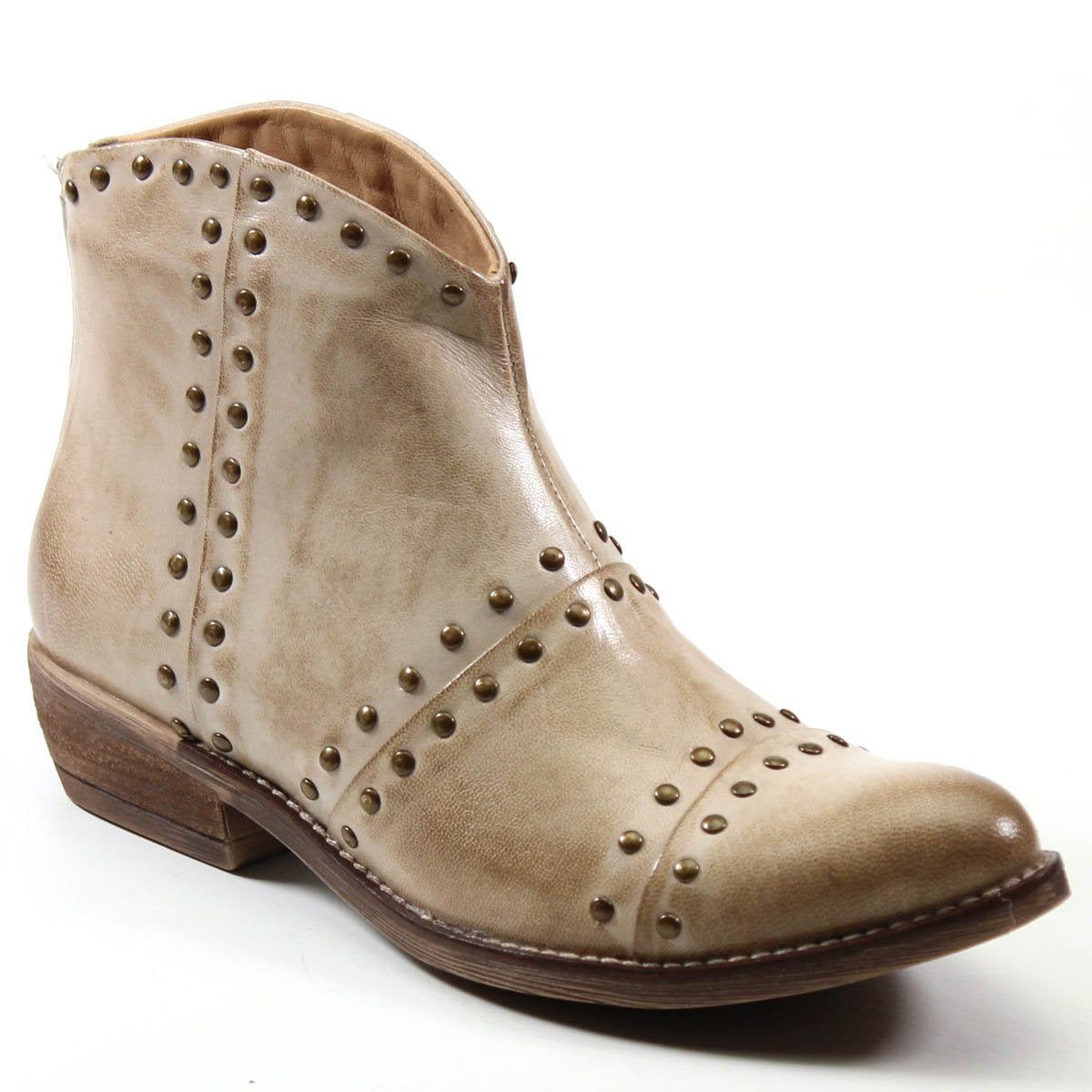 Diba True Good Sign Studded Western Genuine Leather Off-White Ankle Boot