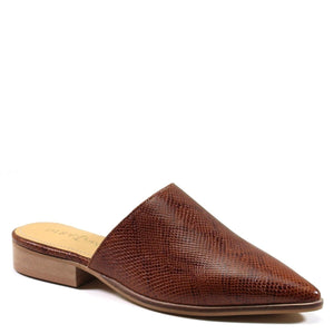 Diba True Women's High Up Flat Pointed Mule Genuine Leather Snake Printed Cognac Profile