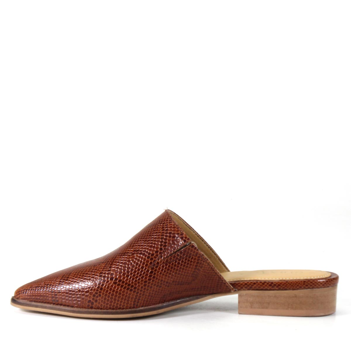 Diba True Women's High Up Flat Pointed Mule Genuine Leather Snake Printed Cognac Side View