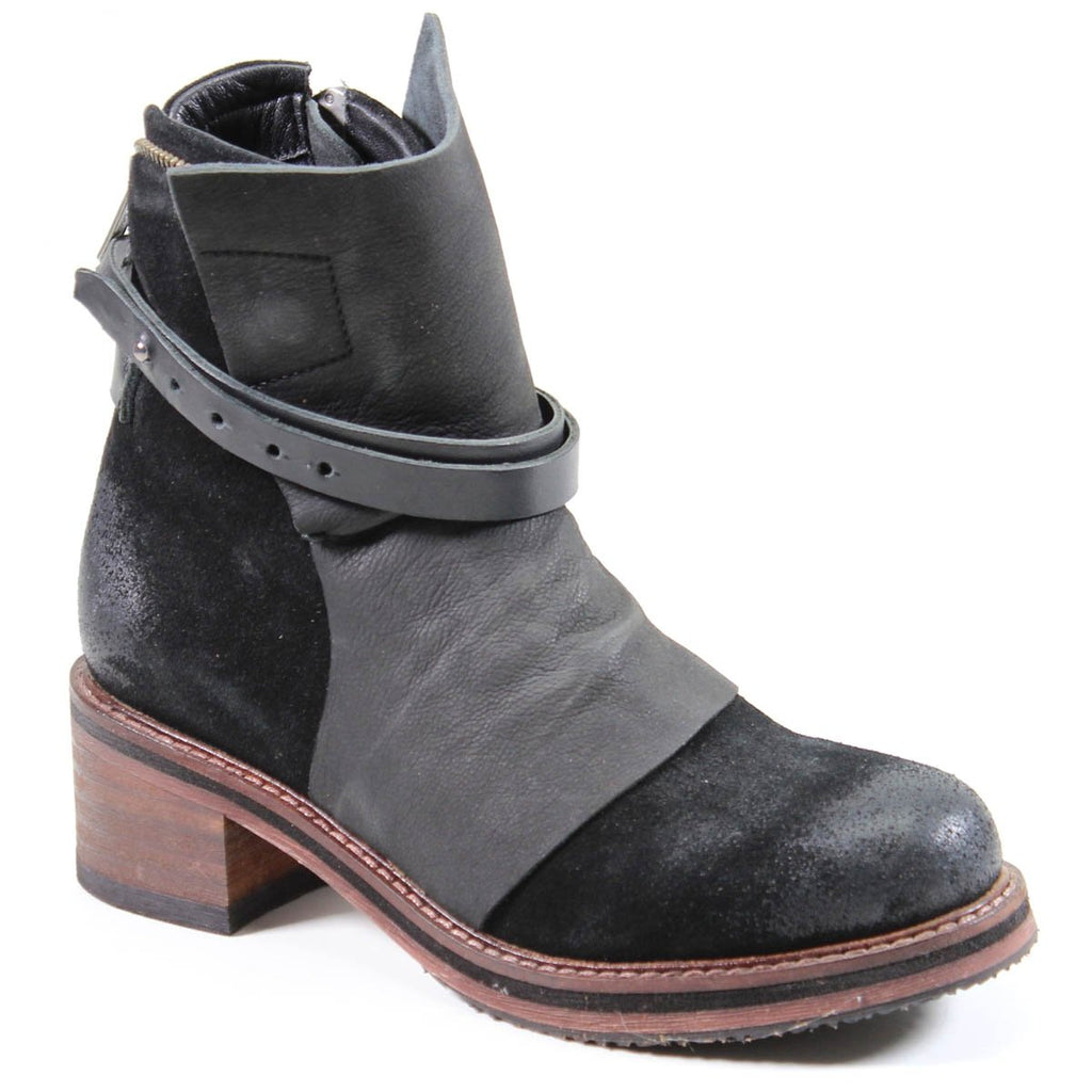 Diba True's Copper Tail Black Leather Moto Combat Ankle Boot