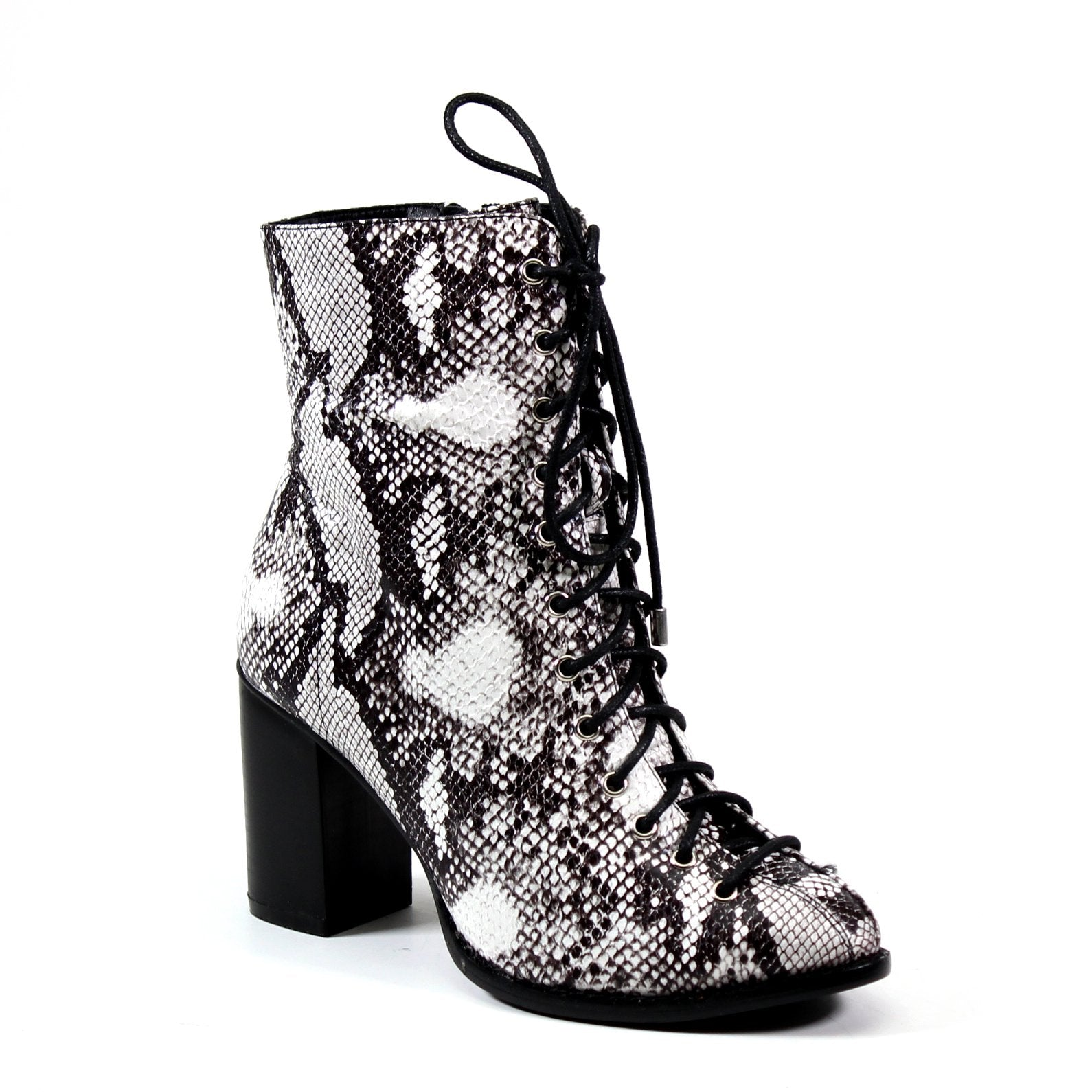 Demand attention when you enter a room in this vegan snakeskin leather lace-up imi leather bootie with inside zip and stacked block heel.