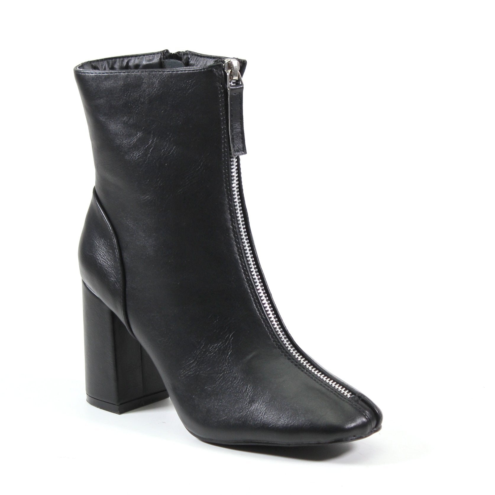 A mid-length bootie featuring a decorative faux front zip that starts from the toe and extends to the top line of this vegan leather upper. A self-covered block heel and functional inside zip for easy entry.
